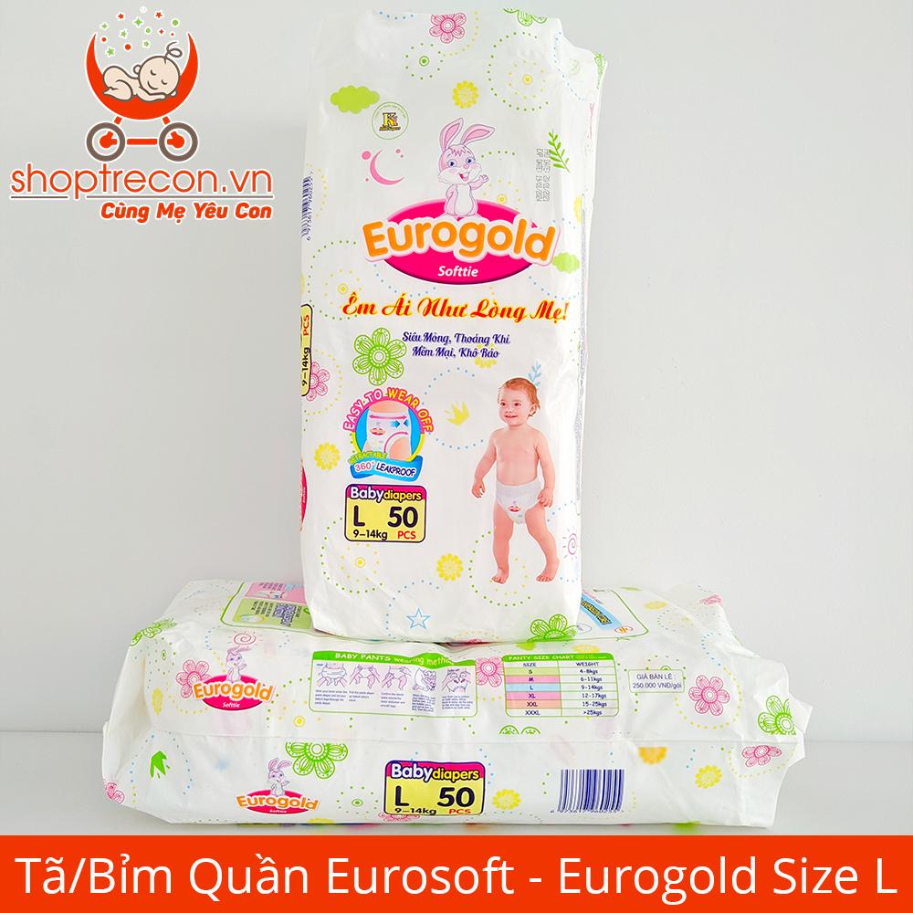 Tã/Bỉm Quần Eurosoft Size L Số Lượng 100 Miếng Cho Bé 9 - 14 Kg