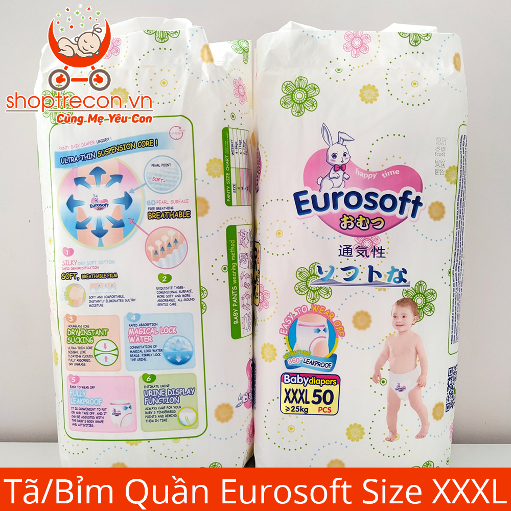 Tã/Bỉm Quần Eurosoft Size XXXL Số Lượng 100 Miếng Cho Bé >=25 Kg